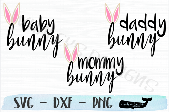 Download Free Baby Mommy Daddy Bunny Announcement Graphic By for Cricut Explore, Silhouette and other cutting machines.