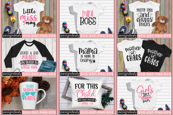 Print on Demand: Baby Tshirt Design Bundle Graphic Print Templates By Designdealy.com