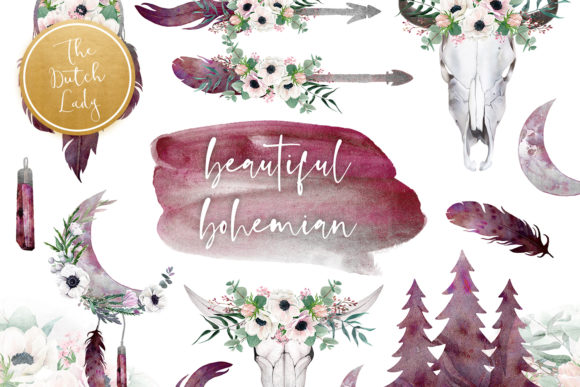 Print on Demand: Beautiful Bohemian Clipart Set Graphic Illustrations By daphnepopuliers - Image 1