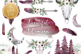 Print on Demand: Beautiful Bohemian Clipart Set Graphic Illustrations By daphnepopuliers