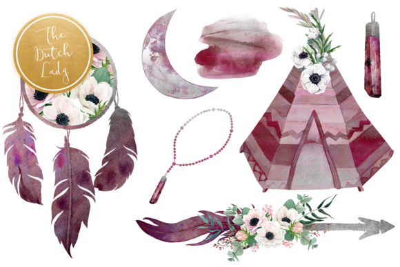 Print on Demand: Beautiful Bohemian Clipart Set Graphic Illustrations By daphnepopuliers - Image 6