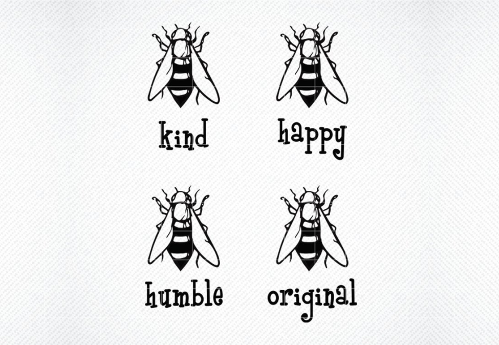 Download Free Bee Kind Bee Happy Bee Humble Graphic By Svg Den Creative Fabrica for Cricut Explore, Silhouette and other cutting machines.