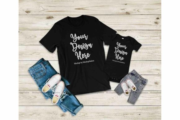 Download Free Family Tshirt Mockup Bundle Mommy Me Graphic By Mockup for Cricut Explore, Silhouette and other cutting machines.