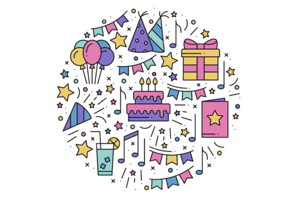Download Free Birthday Party Print Graphic By Kroljastock Creative Fabrica for Cricut Explore, Silhouette and other cutting machines.