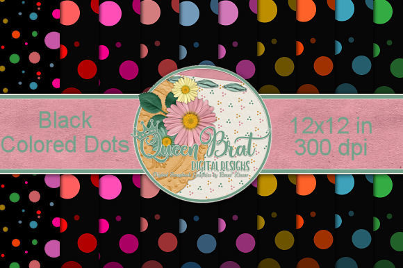 Print on Demand: Black Colored Dots Backgrounds Graphic Backgrounds By QueenBrat Digital Designs