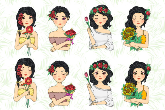 Print on Demand: Black Haired Flower Girl Graphic Illustrations By accaliadigital