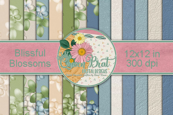 Print on Demand: Blissful Blossoms Backgrounds Graphic Backgrounds By QueenBrat Digital Designs