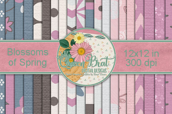 Print on Demand: Blossoms of Spring Backgrounds Graphic Backgrounds By QueenBrat Digital Designs