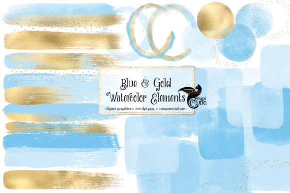 Print on Demand: Blue and Gold Watercolor Elements Graphic Illustrations By Digital Curio