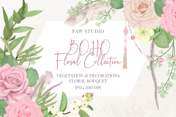 Print on Demand: Boho Collection Floral Decorations Graphic Illustrations By PawStudio