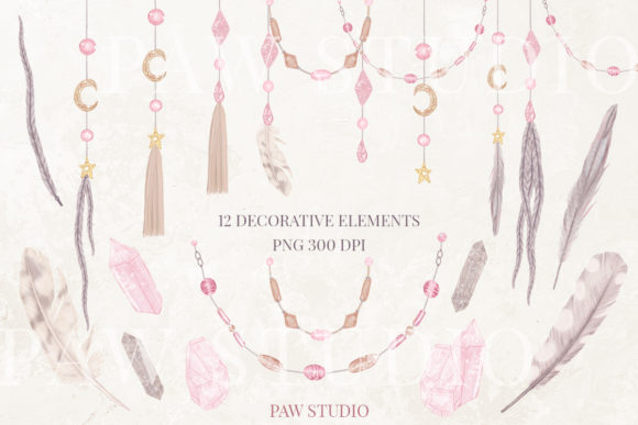 Print on Demand: Boho Collection Floral Decorations Graphic Illustrations By PawStudio - Image 3
