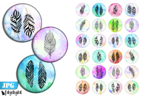 Print on Demand: Boho Feathers Bottle Cap Printables Graphic Crafts By CatgoDigital