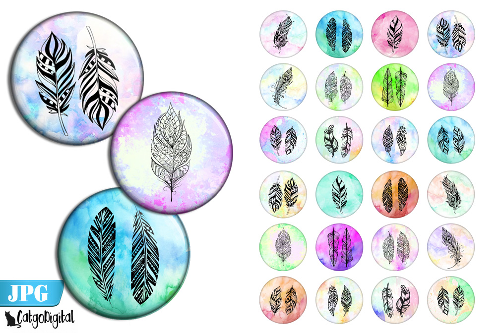 Download Free Boho Feathers Bottle Cap Printables Graphic By Catgodigital for Cricut Explore, Silhouette and other cutting machines.