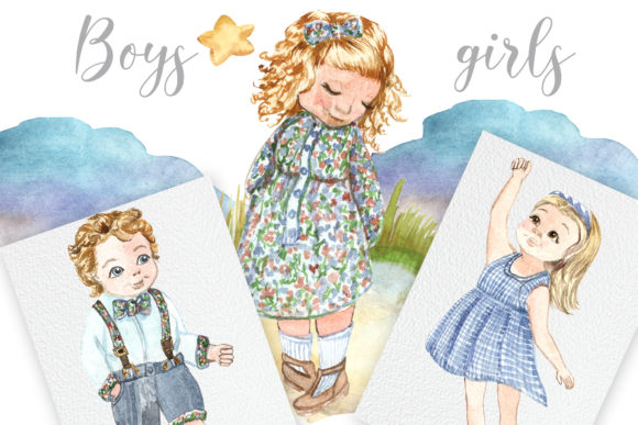 Print on Demand: Boys and Girls Graphic Illustrations By laffresco04