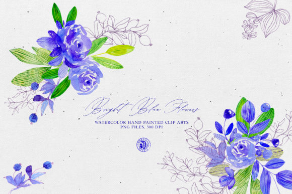 Print on Demand: Bright Blue Flowers Graphic Illustrations By webvilla