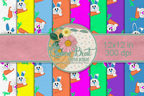 Download Free Bunny Hop Bunnies Backgrounds Graphic By Queenbrat Digital for Cricut Explore, Silhouette and other cutting machines.