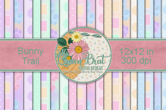 Print on Demand: Bunny Trail Backgrounds Graphic Backgrounds By QueenBrat Digital Designs