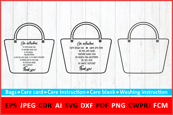 Download Free Care Instruction Shopping Tote Bag Grafico Por Millerzoa for Cricut Explore, Silhouette and other cutting machines.
