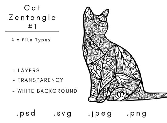 Print on Demand: Cat Zentangle 1 Graphic Coloring Pages & Books Adults By Linnypig Designs