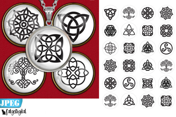 Print on Demand: Celtic Knots Circle Printable Images Graphic Crafts By CatgoDigital