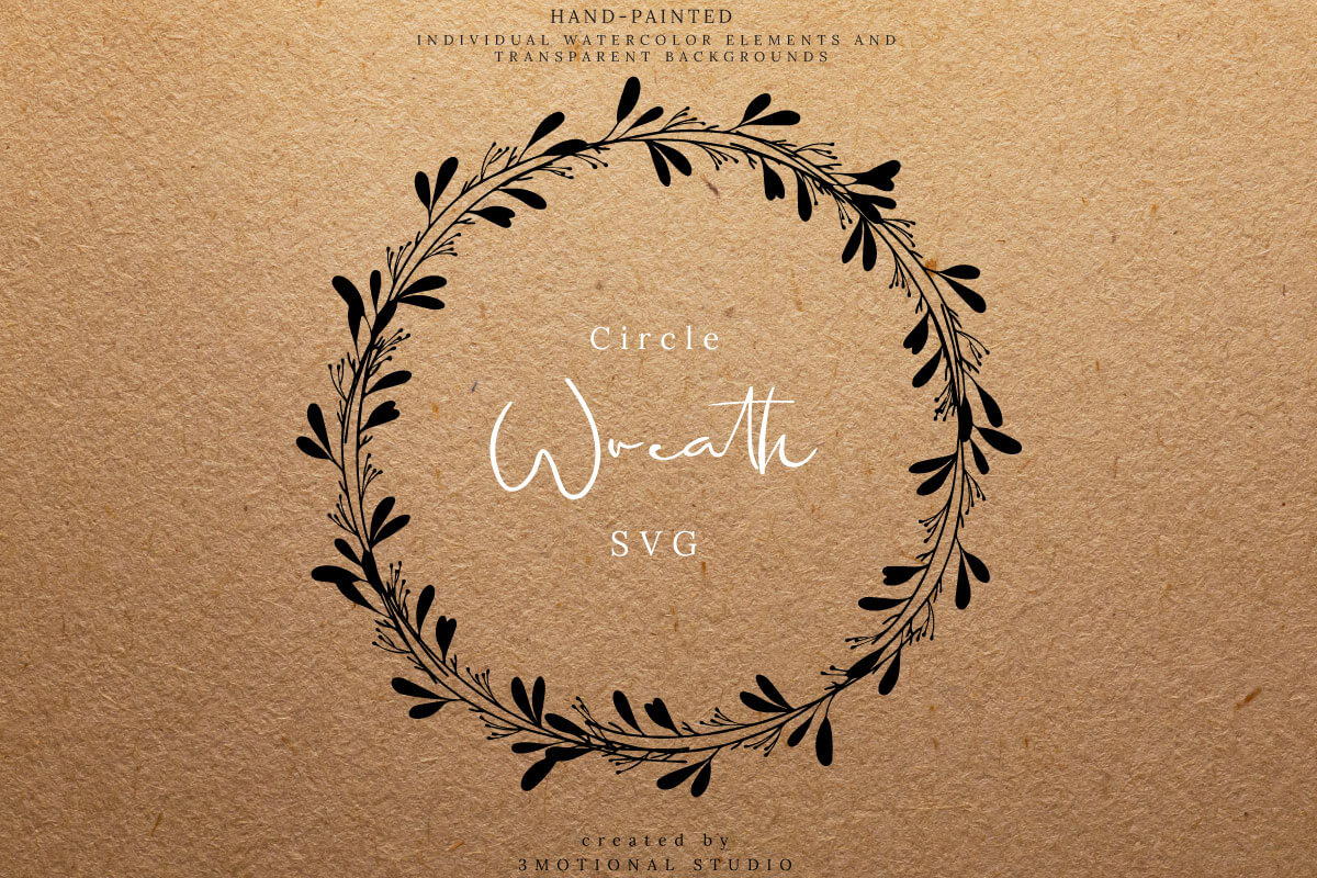 Download Free Circle Wreath Cut File Clip Art Graphic By 3motional Creative for Cricut Explore, Silhouette and other cutting machines.