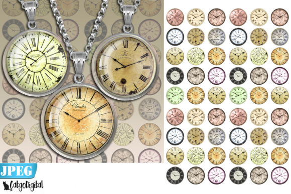 Print on Demand: Clock Faces Steampunk Digital Circles Gráfico Crafts Por CatgoDigital