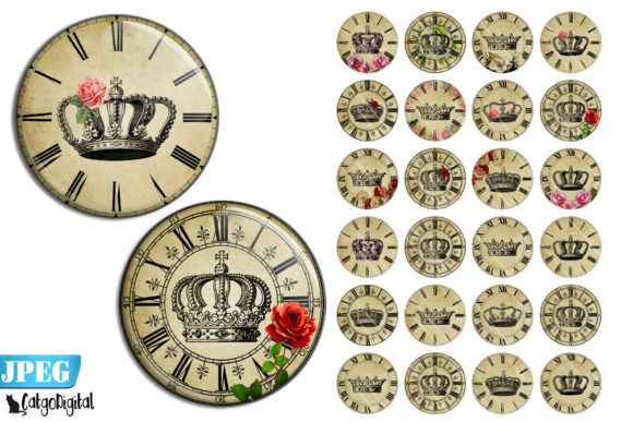 Print on Demand: Clock Faces with Flowers Steampunk Graphic Crafts By CatgoDigital