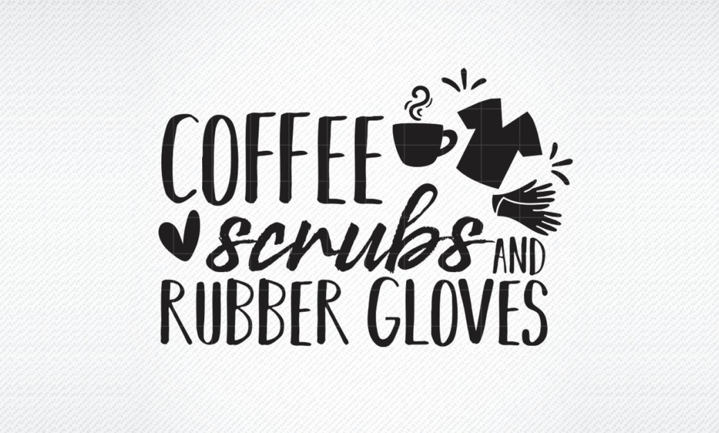 Download Free Coffe Scrubs And Rubber Gloves Graphic By Svg Den Creative Fabrica for Cricut Explore, Silhouette and other cutting machines.