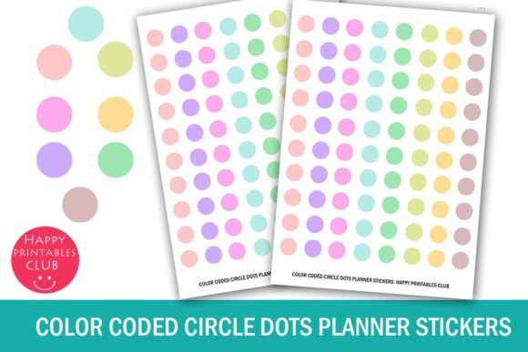 Print on Demand: Color Coded Circle Dots Planner Stickers Graphic Crafts By Happy Printables Club