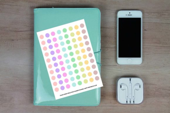 Download Free Color Coded Circle Dots Planner Stickers Graphic By Happy for Cricut Explore, Silhouette and other cutting machines.