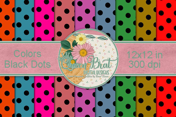 Print on Demand: Colored Backgrounds with Black Dots Graphic Backgrounds By QueenBrat Digital Designs