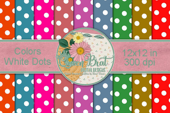 Print on Demand: Colored Backgrounds with White Dots Graphic Backgrounds By QueenBrat Digital Designs