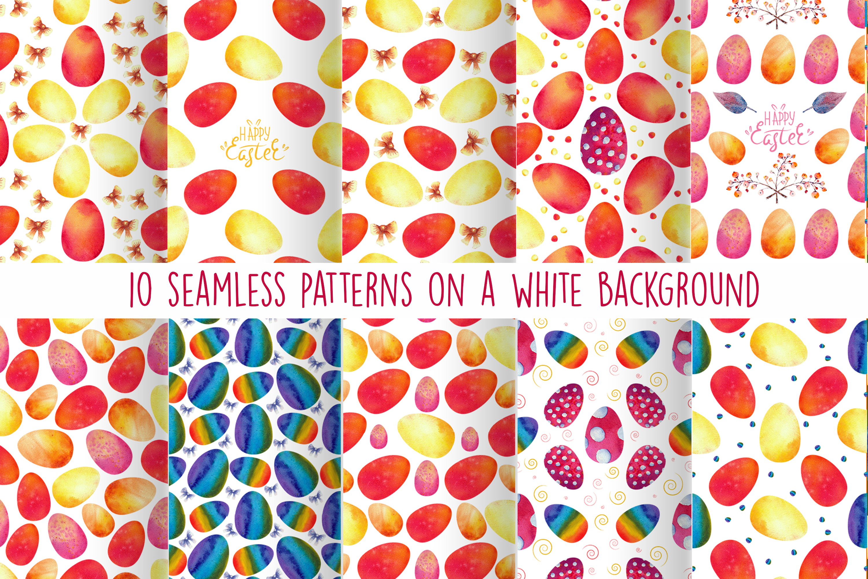Download Free Colorful Easter Eggs Seamless Patterns Graphic By Natika Art for Cricut Explore, Silhouette and other cutting machines.