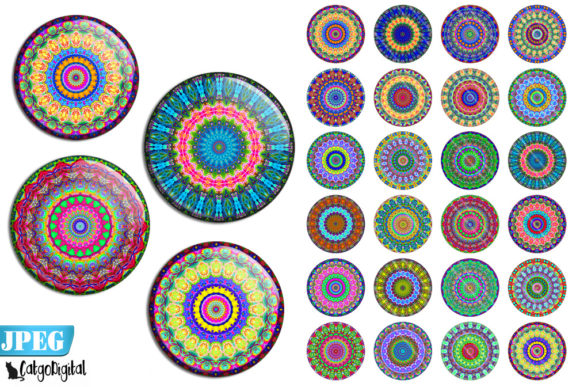 Download Free Colorful Mandala Circle Printable Images Graphic By Catgodigital for Cricut Explore, Silhouette and other cutting machines.