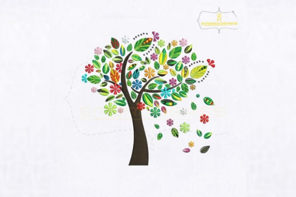 Colorful Spring Tree Forest & Trees Embroidery Design By royalembroideries - Image 1