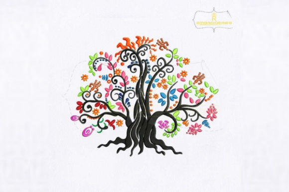 Colorful Tree of Life Forest & Trees Embroidery Design By royalembroideries
