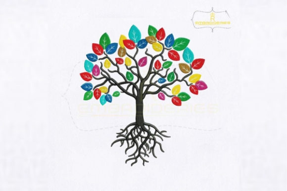 Colorful Tree with Roots Forest & Trees Embroidery Design By royalembroideries