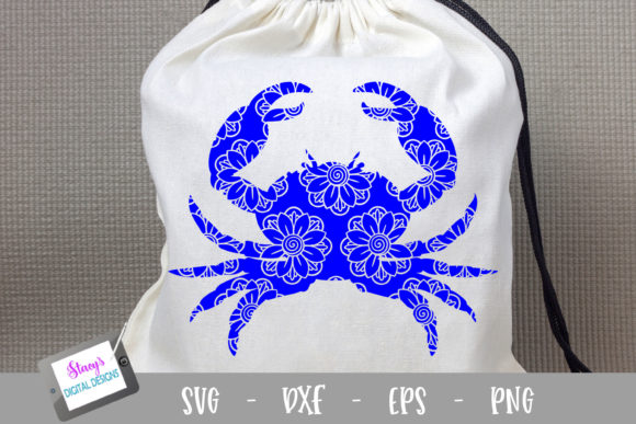 Crab - Crab with Floral Mandala Graphic Crafts By stacysdigitaldesigns