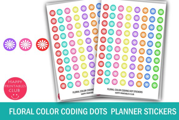 Download Free Cute Floral Color Coding Dot Stickers Graphic By Happy for Cricut Explore, Silhouette and other cutting machines.