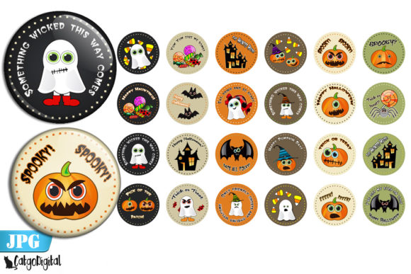 Print on Demand: Cute Halloween Bottle Cap Images Circles Graphic Crafts By CatgoDigital