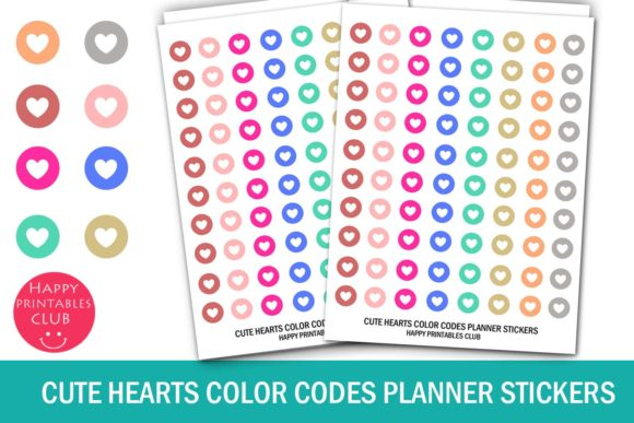 Download Cute Hearts Color Coding Dot Stickers