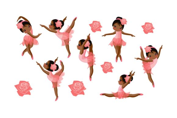 Download Free Cute Pink Afro Ballerina Bundle Clipart Graphic By Sintegra for Cricut Explore, Silhouette and other cutting machines.
