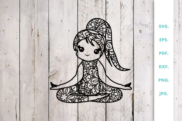 Download Free Cute Yoga Girl Out Of Mandala 5 Graphic By Sintegra Creative for Cricut Explore, Silhouette and other cutting machines.