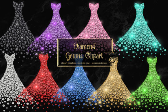 Print on Demand: Diamond Gowns Clipart Graphic Illustrations By Digital Curio