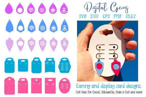 Earrings and Display Card Designs Graphic Crafts By Digital Gems