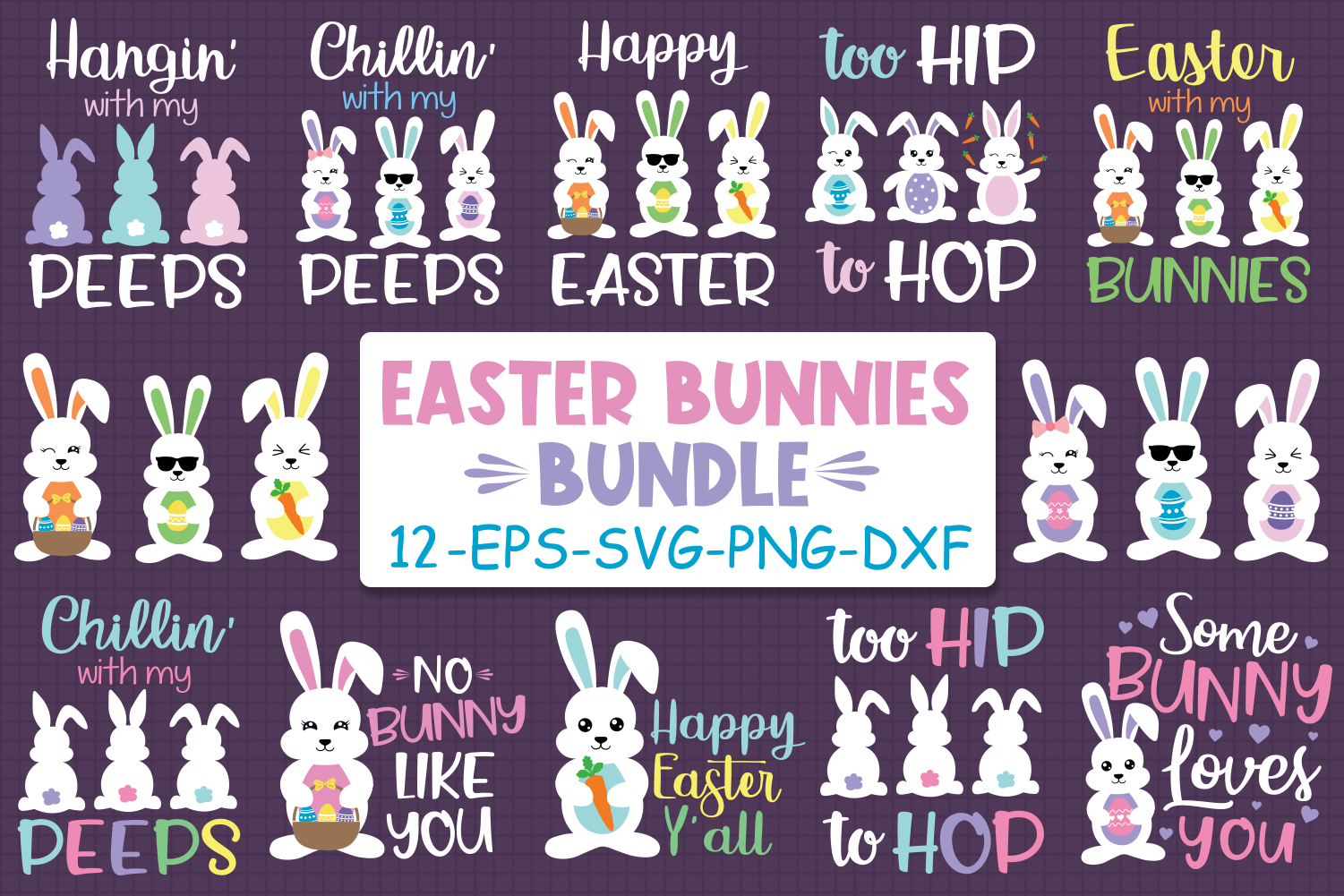Download Free Easter Bunnies Bundle Graphic By All About Svg Creative Fabrica for Cricut Explore, Silhouette and other cutting machines.