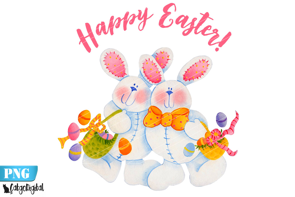 Download Free Easter Bunny Clip Art Easter Bunnies Graphic By Catgodigital for Cricut Explore, Silhouette and other cutting machines.
