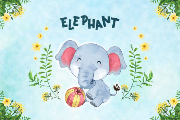 Print on Demand: Elephant Nursery Decor Graphic Illustrations By accaliadigital