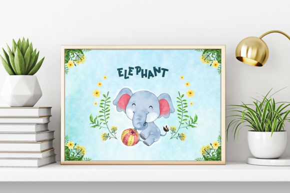 Print on Demand: Elephant Nursery Decor Graphic Illustrations By accaliadigital - Image 2