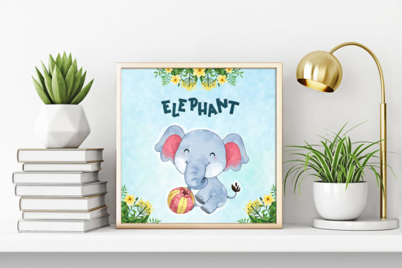 Print on Demand: Elephant Nursery Decor Graphic Illustrations By accaliadigital - Image 3